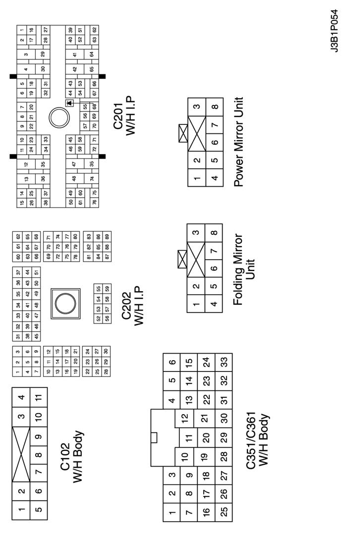 Ж/п приборная панель. в. расположение разъёмов и соединений массы.