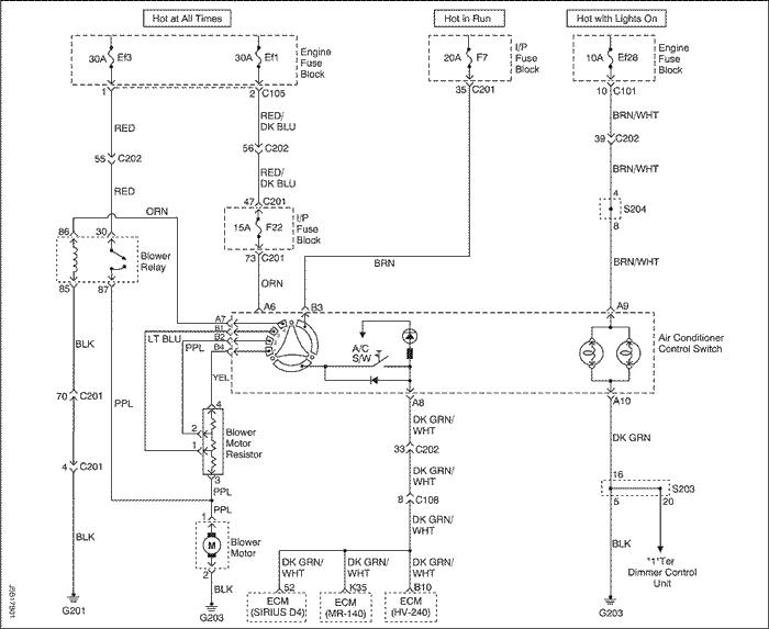 Принципиальные и монтажные схемы.  Схемы без кондиционера.  Распределение воздушных потоков - типовое.