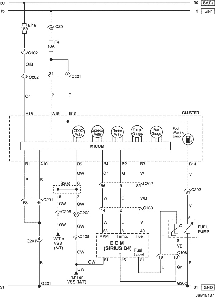 электрическая цепь датчика топлива chevrolet lacetti