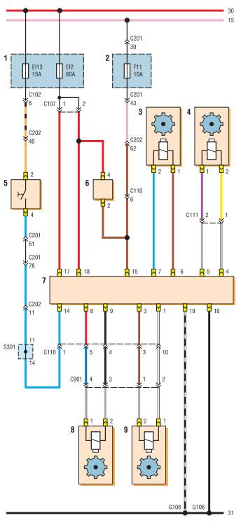 Схема соединений блока управления ABS (начало): 1 - монтажный блок реле и предохранителей в моторном отсеке; 2...